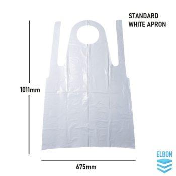 Disposable Aprons, Standard Plastic White Blue Apron 10mu