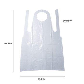 Disposable Aprons, Standard Plastic White Apron