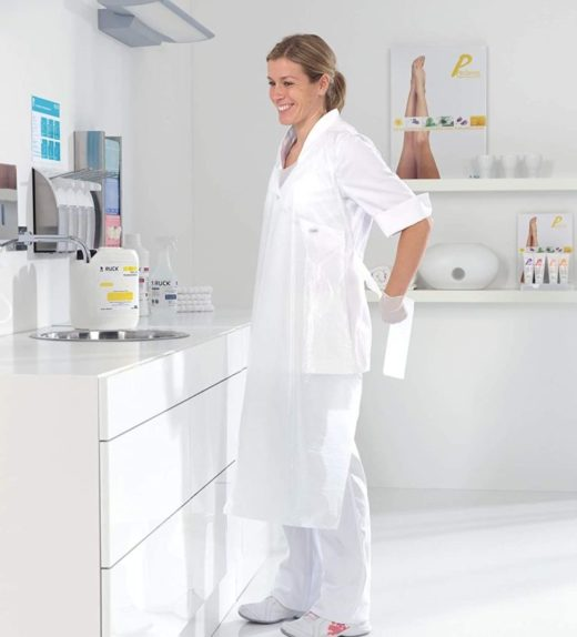 White disposable aprons extra long