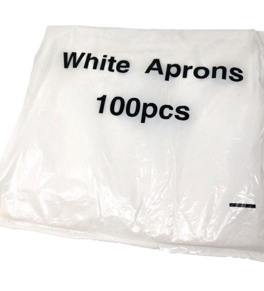 White Plastic Aprons Flat Pack