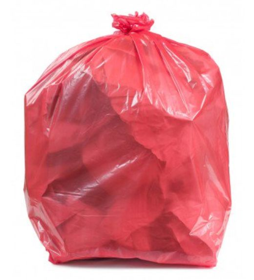 red waste bags