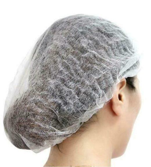 white hair net mob cap
